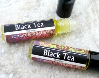 Black Tea Roll On Perfume, delicate tea fragrance, concentrated vegan formula