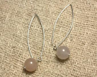 Aventurine 10mm Rose 925 Silver earrings