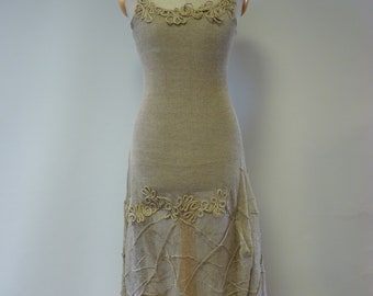 Sale. Artsy taupe transparent dress, S size. Made of pure linen. Only one sample.