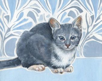 Cat Art, Art Nouveau, Winter Cat, Original Oil Painting, Cat Painting, Cat Oil Painting, Art for Cat Lover, Blue and White, Blue and Gray