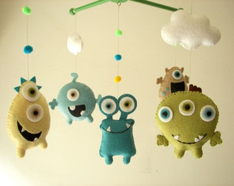 "Baby crib mobile, Monster mobile, Alien mobile, felt mobile, nursery mobile ""Monster Friends-Aqua"""