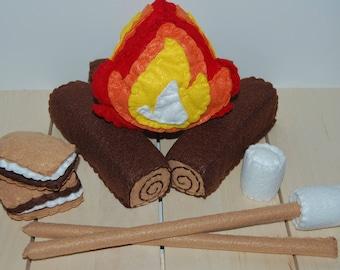 Felt Campfire Set, Felt Food, Pretend Camping, Felt Play Food, Gift for Kids, Marshmallow Roast, Felt S'mores, Pretend Play, Kids Toys