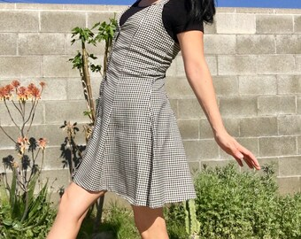 90s Gingham Overall Dress