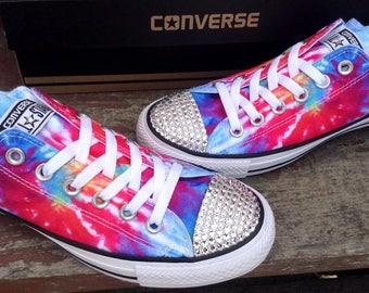 Converse Tie Dye Rainbow Pride Boho Classic Low Top w/ Swarovski Crystal  Rhinestones Bling Chuck
