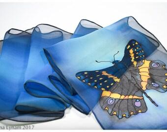 "Silk scarf handpainted. Butterfly Silk Scarf. 8""x53""chiffon. Swallowtail Butterfly scarf. Hand painted silk scarves. Teal Silk Scarf~ETSY"