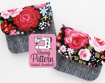 Pleated Pouches PDF Sewing Pattern | Beginner sewing project for five sizes of storage pouches to use for cards, clutches, gadgets, etc.