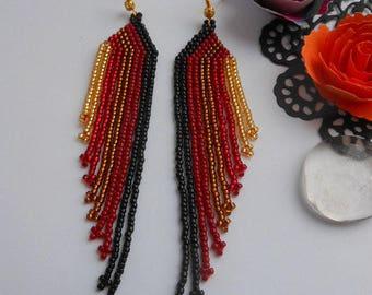 Women's boho earrings gift for her Beaded earrings Long modern earrings Red  Holiday earrings Long dangle earrings Extra long earrings