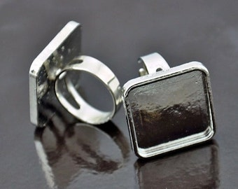 6 Silver Bezel Ring Base, 25mm Square, adjustable, J722S