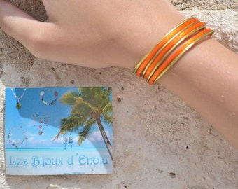 orange and gold Cuff Bracelet