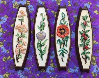 60's Four Seasons Wall Hanging Quartet // Mid Century Flowers Home Decor Plastic