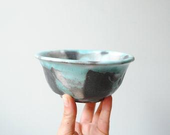 Vintage Handmade Studio Pottery Bowl, Ceramic Bowl, Small Bowl, Ring Dish, Blue and Black Bowl