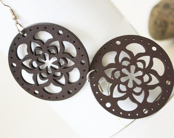 Buy 3 get 1 Free//Brown Flower Laser Cut  Naturally Beauty Wood  Earring