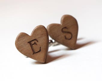Heart shaped cufflinks with initials groom gift wood cufflinks smooth and smart design