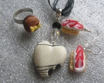 3 clay food jewelry polymer + gift