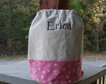 Monogrammed Pink Beach Bag Pink Canvas Drawstring Bag