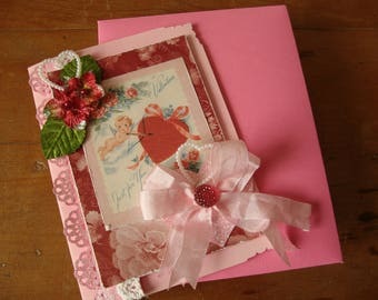 Victorian Valentine's Day card vintage cupids embellished card paper art mixed media Valentine gift for friend