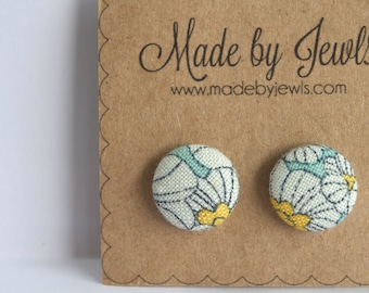 Aqua White and Yellow Posie Floral Handmade Fabric Covered Hypoallergenic Button Post Stud Earrings 10mm