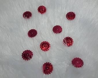 glitter red flower set of 10