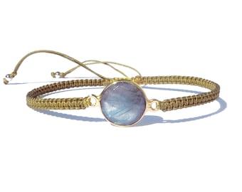 labradorite connector golden olive knotted cord bracelet / friendship bracelet / gemstone adjustable bracelet / macrame bracelet