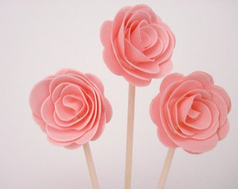 Set of 24Pcs - Blush 3D 'ROSE' Party Picks, Cupcake Toppers, Toothpicks, Food Picks