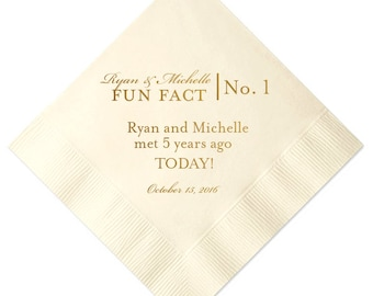 Fun Facts Personalized Wedding Napkins