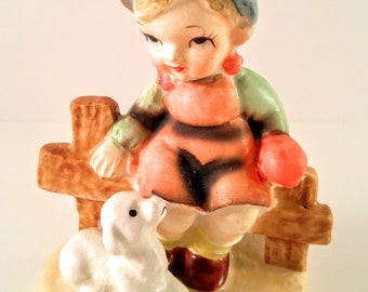 Vintage Made in Japan Hummel-Like Mary Had a Little Lamb Porcelain Figurine. Girl Sitting on Fence. Mid Century Kitsch. Girl's Room Decor.