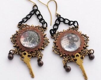 Steampunk Earrings, Key Earrings, Mixed Metal Soft Steam Earrings, Industrial Chic Earrings, Gear Cog Jewelry, Steampunk Jewelry, SRAJD