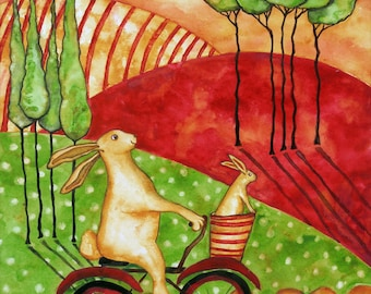 Farmhouse Debi Hubbs Folk Art Rabbit Bunny Bike Italian Farm Tuscan Country Animals Bicycle Farmhouse