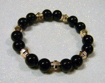 Black Jasper and Rose Gold Ridged Bead Stretch Bracelet