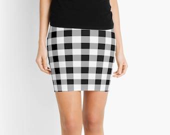 Black and White Plaid Skirt, Black and White Mini Skirt, Plaid Mini, Mini Skirt, Black Stripes, White Stripes, Black and White Plaid