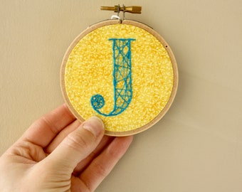 J Monogram Embroidery Hoop // Monogram Gift // Initial Wall Decor // Monogram Wall Art // Best Friend Gift // Neutral Baby // 3 inch hoop