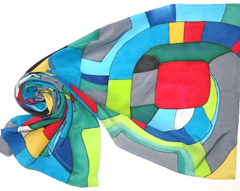 Silver Spiral silk scarf. Hundertwasser scarf Hand painted silk scarf in red green yellow blue painted silk. Hand made scarf silk painting