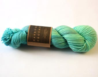 Sea Glass - Luxury Superwash Merino Crazy 8 DK Yarn by Harbour Crochet. 100g/250m skein. Handdyed / kettle dyed; spearmint/mint/aqua/blue