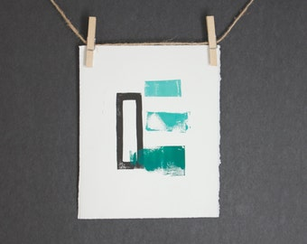 Teal Ombre Modern and Abstract Printmaking POSTER in gradient Teal Linocut 8x10