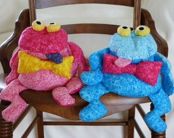 Frog Stuffed Animal/Bean Bag/Pink Frog/Blue Frog/Toy/Froggy Stuffed Animal/Gift for Teen/Bean Bags/Bow Tie/Desk Accessory/Novelty Gift