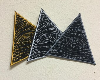 Custom Eye of Providence Embroidered Iron On Patch , Size W3 x H 2 3/4 (inches).