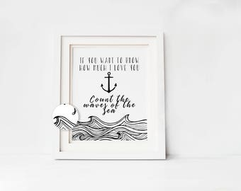 Nautical Anchor Download Print, Baby Shower Gift, Boy's Nursery Wall Art, Instant Digital Download, Little Explorer, Black and White