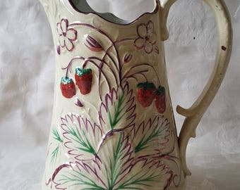 19th Century Pink Luster Strawberry Pitcher