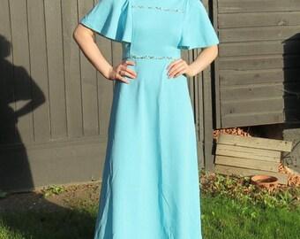 1970s blue maxi dress/ 1970s blue empire waist dress/ vintage dress