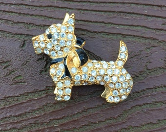 Vintage Jewelry Signed Monet Lovely Scottie Dog Pin Brooch