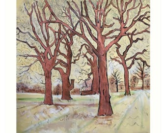 Art Print Taken From The Original Oil Painting 'The Trees In The Field Clap Their Hands' By Sally Anne Wake Jones
