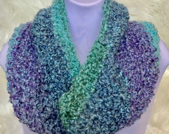 Colorful Infinity Cowl, scarf, crochet scarf