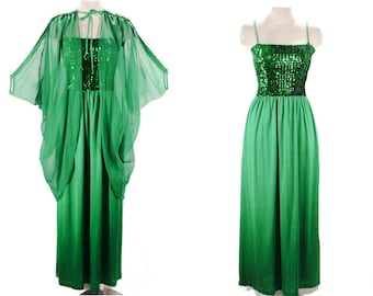 Size 8 Green Evening Dress - Rich Emerald Disco Queen Gown & Sheer Overlay - Brilliant Sequins - Jeweltone Jersey Knit - Bust to 35 - 49619