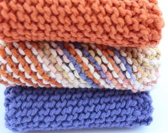Desert Knit Dishcloths, Set of 3, Knit Cotton Washcloths, Rust Dishcloth, Housewarming Gift, Kitchen Dishrags, Bathtime Cloths