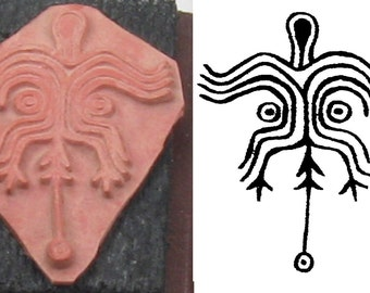 Shaman Skeleton Design Stamp Tool for PMC Ceramic Polymer Clay Textiles & Scrap Booking - Shaman Ritual Design Stamping Tool - Southwest