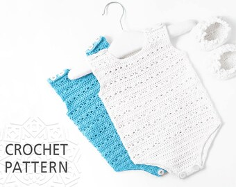 Baby Romper Crochet Pattern, Baby clothes, Newborn gift, size 0-3, 3-6 months, Cute baby onesies, Baby pants, Baby body suit, Download PDF