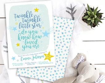 Twinkle Twinkle Little Star Invitation - Baby Shower Invite - Twinkle Twinkle Little Star Baby Shower - Star Baby Shower Invitation