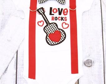 Boy Valentine's onesie love rocks gingham Valentine's Day Onesie boy guitar Valentine's onesie with matching bow tie & suspenders onesie