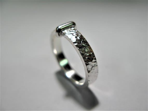ring inspired by outlander claire handmade in hammered silver