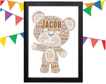 Personalized Gift Teddy Bear Gifts Teddy Gift New Baby Gifts Wall Art Wall Prints Wall Art Wall Decor Personalised Gift Wall Art Prints